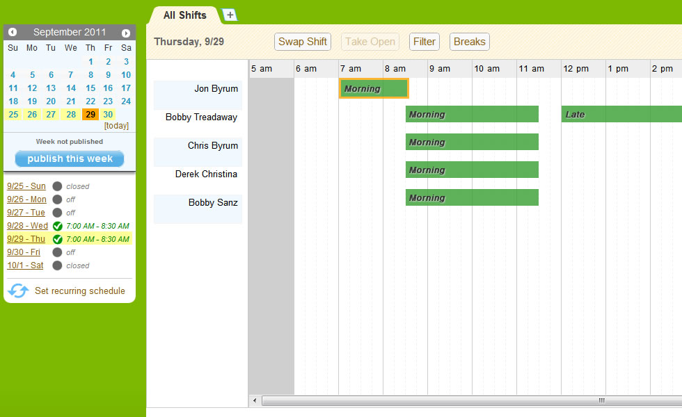 Weekly Employee Schedules Employee Scheduling Software