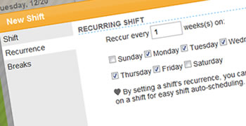 Easily creating recurring work shifts